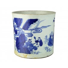 """1168 Ming B&W brush pot depicting  of """"The Four Sages"""""""