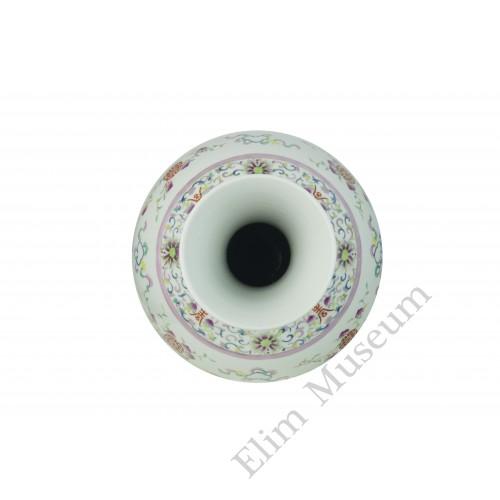 1041 (2) A Fengcai bats & peach mallet-shaped vase