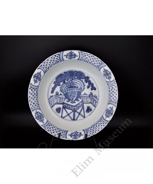 1468  A B&W chrysanthemum pattern plate