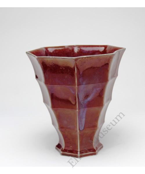 1223 A Ming Jun-Ware red glaze bamboo vase