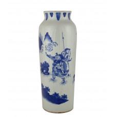 "1163 A b&w vase of ""Three Kingdoms"" worior"