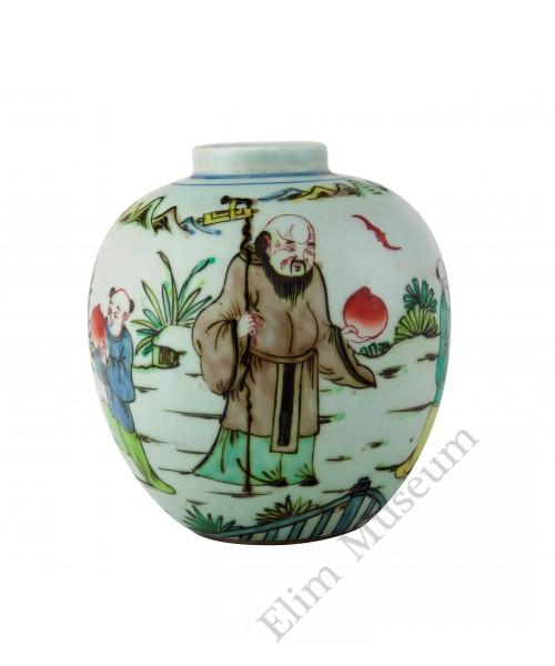 1332 A Ming Dynasty Wu-cai painted deity of longevity