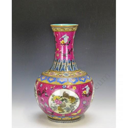 1032 A Yancai long neck vase with nine quails (1)