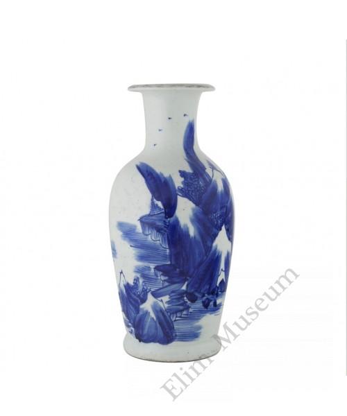 1104   A Kangxi B&W landscape vase.