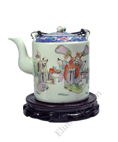 1106 A Qing Tongzhi period Rose Famille verte Teapot