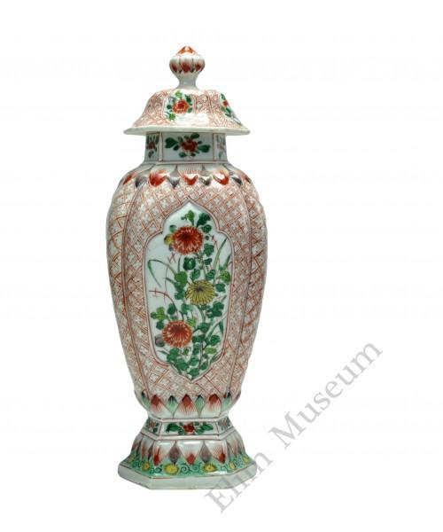 1107 A Kang-Xi Wucai  hexagonal seasonal flowers vase