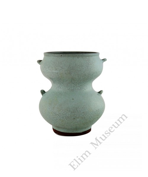 1126   A Song dynasty milky glaze Jun-Ware gourd shaped pot