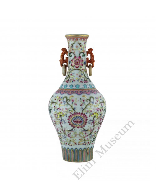 1128  A  fencai double-rings vase with scrolling lotus