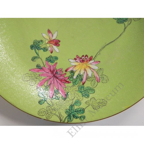 1130 A Fengcai incised ground vase flower decor