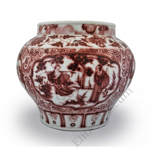 "1386 A Yuan under-glaze red jar with figures of the ""Eight Immortals"""