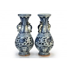 1388 A pair Yuan Dynasty B&W double handles vases