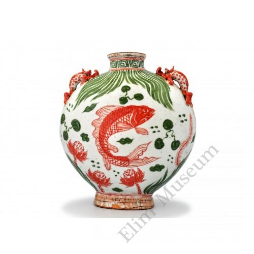 1408 A Yuan Red-Green glaze flask fish-lotus decor