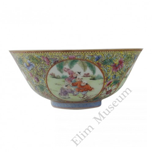 1143  A pair of Qian-long  fencai bowls with playing boys