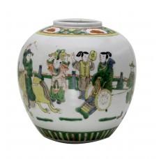 1145 A fengcai teapot décor with folk figures