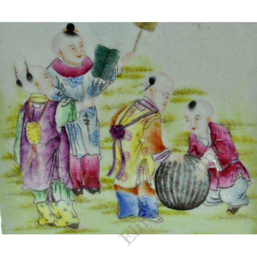 1146 A Qian-Long square vase fengcai playing childern