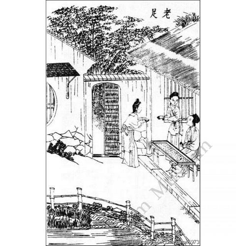 "1151 A Kang-Xi Wucai vase of  ""silkworm raising"""