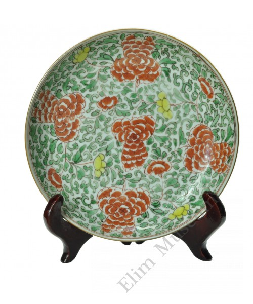 1153 A Sancai  painted peony pattern plate
