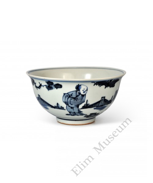 1544  A Ming  b&w bowl with figures