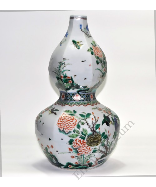 1155  A  Kang-Xi Wucai  gourd vase with birds and flowers (2)