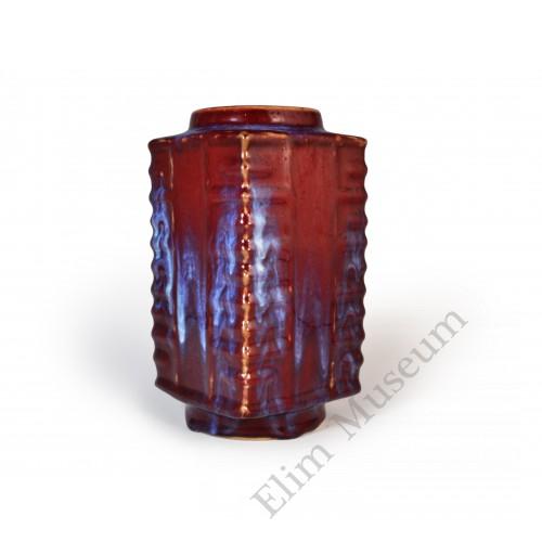 1555  A Flambe glaze Cong vase