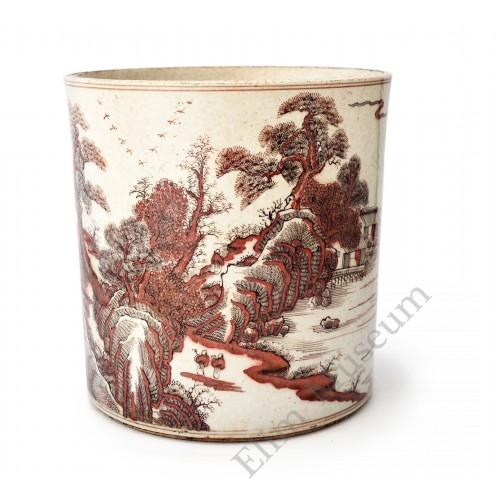 1565 An Kangxi period brush pot with under glaze red landscape