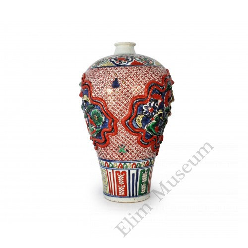 1568 A Red & Green enameled Mei-Ping vase