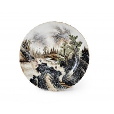 1571-3  A Fengcai landscape dish
