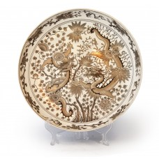1572 A grisaille gold-gilt dragons plate