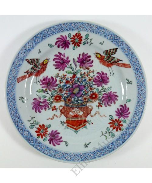 1158 A B&W  Fengcai plate auspicious birds & flowers