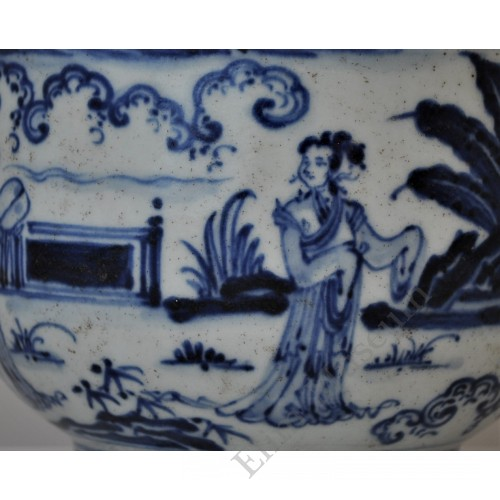 1596 A B&W royal figures and garden scene bell-shape bowl