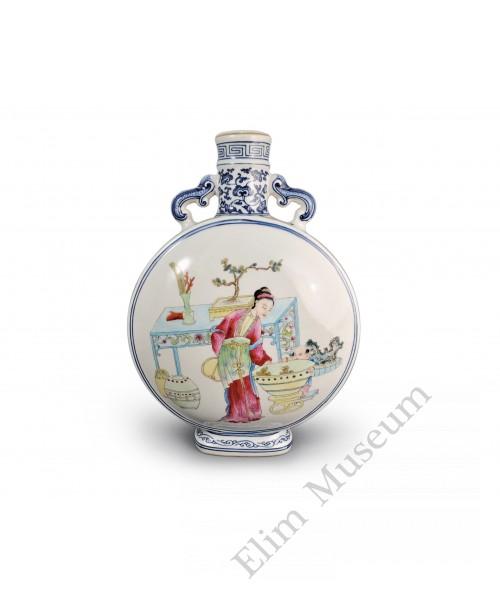 1599 A B&W Fengcai flask vase mother&son pattern