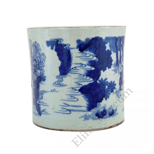 1161 A Ming  B&W brushpot with figures