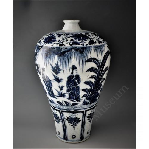 """1632 A Yuan """"Jinxiang Kiosk"""" B&W figures' meiping"""