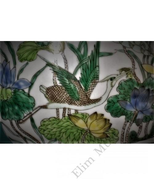 "1635 A five-colors""egrets & lotus"" elephant handled Zun"