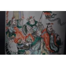"1638 A  famille Wucai brush pot with ""King of Wen"" motif"