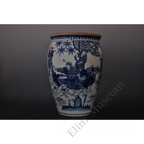 "1639  A b&w vase of ""King Mu of Zhou"" stag-hunting scene"