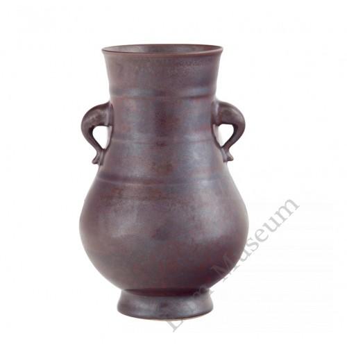 1164  A Qian-Long rusty iron  glaze vase (zun)