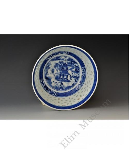 1640 A B&W landscape scene punch bowl