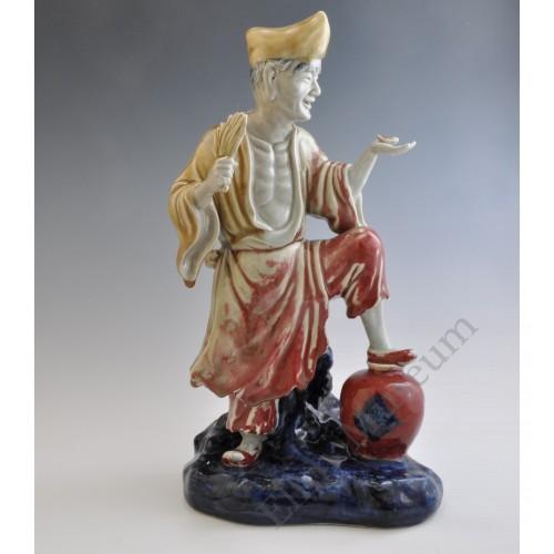 "1657 An under glaze B&R statue of  the ""drunken Monk"""