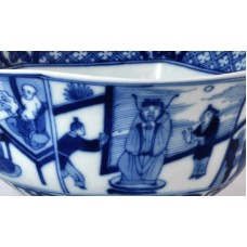 1671 A blue-white Scholarly figurative large bowl