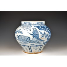 1672 A blue-white legendary figurative jar