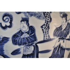 """1674 A B&W Meiping vase  with an historical """"Three Kingdoms"""" figures"""