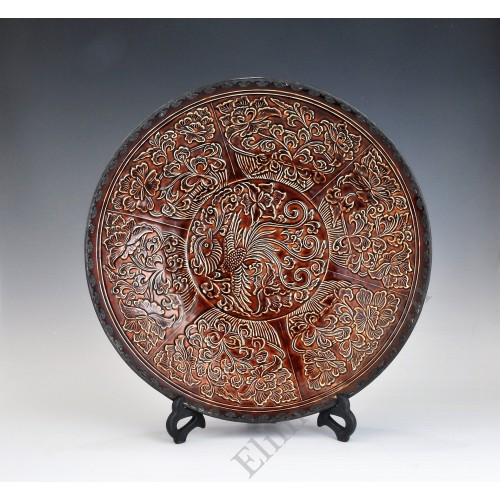 1695 Ding-ware brown glaze carved phoenix flowers plate