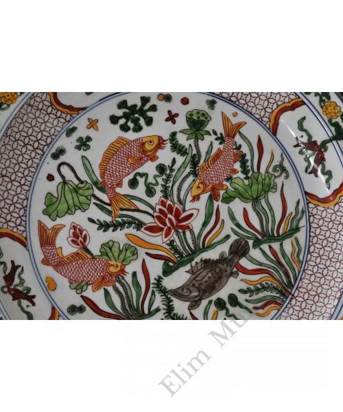1726 A five colors overglaze polychrome plate