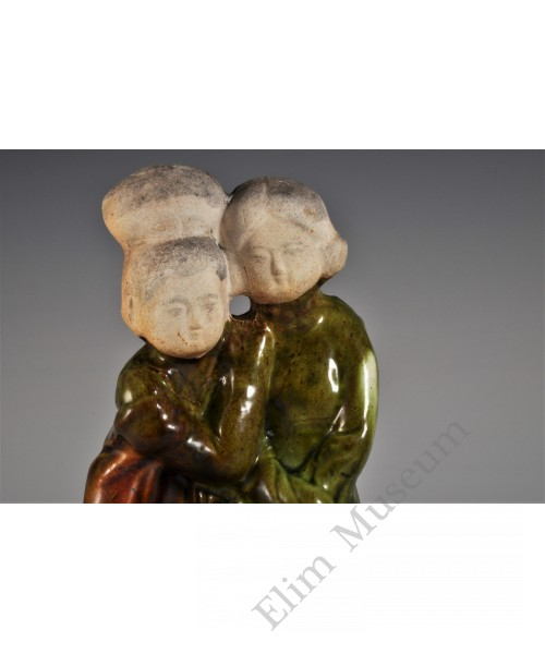 "1746 A Sancai Molded & Sculpted earthware ""mother & daughter"""