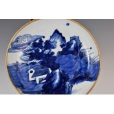 1751 An underglaze blue plate landscape decorated