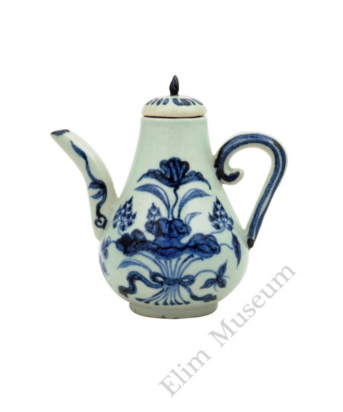 "1176 A Yuan B&W ewer with ""lotus and floral in bundle"""
