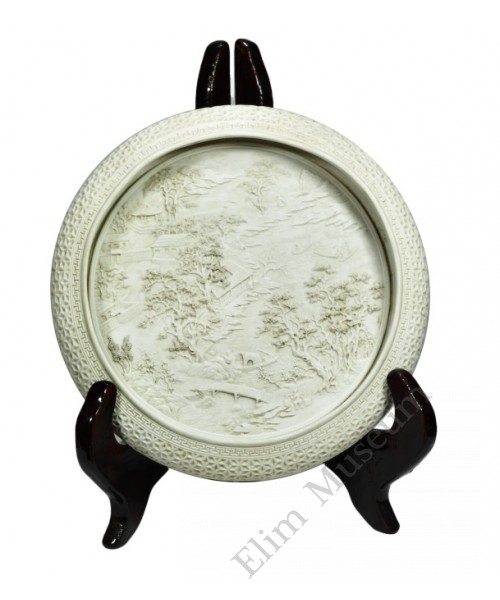 1200  A white brusher carved mountain scene