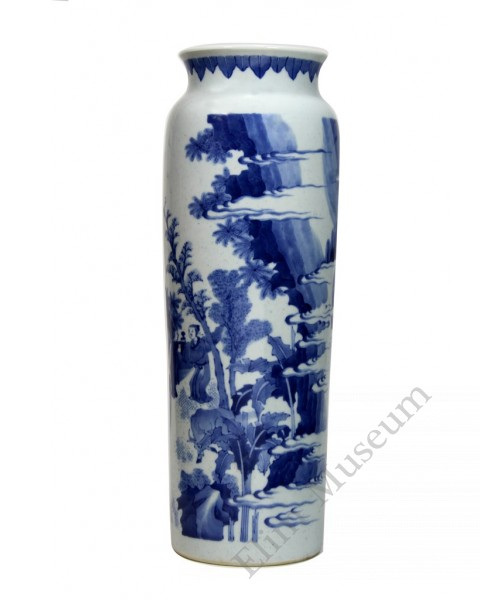 "1207 Ming B&W ""good news"" rolwagen vase"
