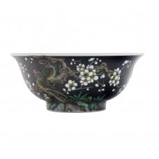 1213 A noire Sancai plum magpie bowl